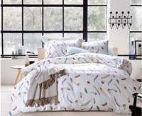 achat en gros de queen size doona couvertures-Luxe 100% literie en coton égyptien set plume plume feuilles brunes reine taille reine couette doona housse couette dans un sac couvre-lits 60