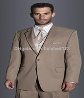 mens custom made suits - Custom Made Two Buttons Brown Groom Tuxedos Notch Lapel Best Man Groomsman Mens Wedding Suits Prom Suits Jacket Pants Vest Tie G304