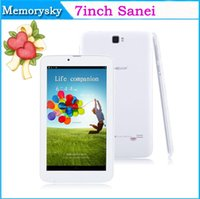 Wholesale 7 quot Tablet Sanei G701 MTK8312 Dual Core IPS Android Dual SIM G Dual Camera GPS Bluetooth G WCDMA Phone Call Tablet Xmas gift
