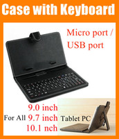 Wholesale 2 in Black Leather Case inch cover for Tablet PC Micro USB port Keyboard Folding Leather cover For ipad air PCC016