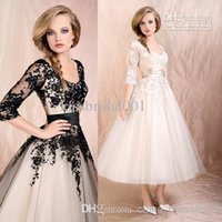 Cheap Lace Appliques Stretch Satin Sash A Line Scoop Neckline Half Sleeves Tea Length Tulle Wedding Dress Free Custom Made Fashion Bridal Gowns