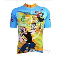 Wholesale 2015 Newest Carton Blue yellow cycling tops short sleeves shirts Popeye color size XS XL cycling jersey tops