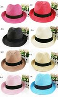 Wholesale Straw Mens Trilby Hats - 200pcs lot Fashion Womens Mens Unisex Fedora Trilby Gangster Cap Summer Beach Sun Straw Panama Hat Couples Lovers Hat