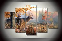 Wholesale 2015 Framed Printed Painting of deer Painting on canvas room decoration print poster picture canvas modern abstract