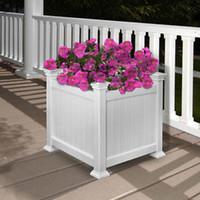 Wholesale SQUARE VINYL PLANTER BOX MAINTENANCE FREE FLOWER POT URBAN GARDEN DECOR WHITE