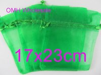 Wholesale OMH x23cm grass green color Jewelry festival wedding Christmas voile organza Packaging gift bags BZ09