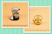 Wholesale Miniatures Stand Mixer Brass Kettle Dollhouse Kitchen Cookware Toys Scale