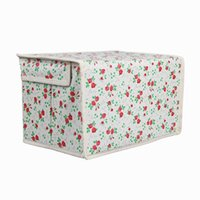 Wholesale New Nonwovens Clothes Storage Organizer Boxes Home Beige Flower Cosmetics Jewelry Case With Cover ZZB3