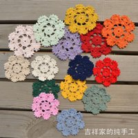 Cheap 2014 new fashion flowers design 30 pic lot10 cm round ikea style cotton lace felt crochet doilies as innovative item for table