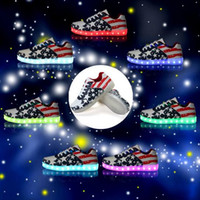 b national - Mens LED Shoes USB Charge Sneakers Colors Unisex Men Womens USA National Flag LED Luminous Glow Lover s Sport Shoes