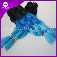 Wholesale Kanekalon Jumbo Braid Synthetic Hair Black Dark Blue Light Blue g inch Ombre three Tone color Xpression hair extensions in stock
