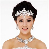 american indian celebrations - bridal marry ceremony celebration jewelry Korean super flash Rhinestone necklace earrings Crown three sets of chain alloy jewelry