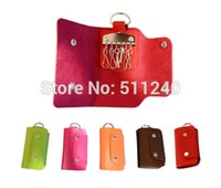 Wholesale New Women Men Portable PU Leather Snaps Key Holder Case Wallet Keys Organizer ger Key Rings Car Door Drawer Lock Keys