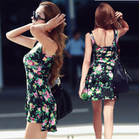 Casual Dresses floral print dress - 2015 New Style Women s Vest Dress Popular models Pastoral Floral Dress Sexy fashion Printed dress CL0014