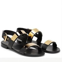 Wholesale Fashion Gladiator Sandals New Arrival male casual open toe paillette metal geniune leather sandals black