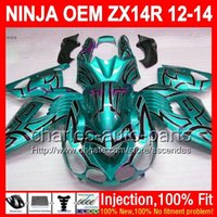abs lines - Injection OEM For KAWASAKI NINJA ZX R ZX14R Cyan black ZX R L88 ZX R black line new ZX14 R Fairing