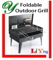 Wholesale foldable bbq grill charcoal barbeque air vent Briefcase BBQ tool steel black cm wire mesh skewer Spatula handle adjustable outdoor stove