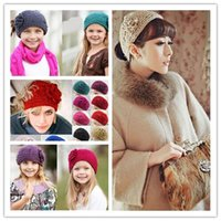 Wholesale 24 colors for choose new knitting wool Woolen Crochet hair band winter warm camellia Flower women girl children Headbands headwear