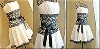 Wholesale Short Black And White Wedding Dresses With Sash Spaghetti Straps Lace vestido de novia Bridal Ball Gowns Evening Party Custom Made