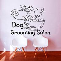 bath pet shop - Dog Grooming Salon Pet Shop Wall Sticker PVC Removable Home Decor Cute Puppy Take A Bath Wall Decals