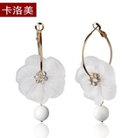 amber flower earrings - Kalome jewelry Korea fashion flower beads frosted tassel ear ring earrings earrings Korean female personality
