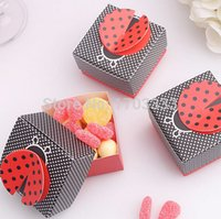 Wholesale wedding candy box baby shower favor box party Decorations candy packing quot Cute as a Bug quot D Wing Ladybug Favor Box