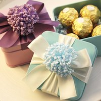 decorative tin - 24 Candy Chocolate Gifts Colours Wedding Favor Tin Boxes With Ribbon Decorative Flower For Wedding Party