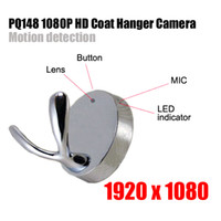 Wholesale 1920 P HD Coat Hanger Spy Clothes Hook Camera Hanger Hidden Camera with Motion Detection Mini Spy DVR Pinhole Cam PQ148