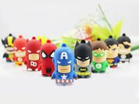 batman stick - 2016 Cartoon SuperMan Memory Stick Captain America Batman Spiderman Green lantern SuperHero USB flash Drive Real GB GB GB GB GB GB