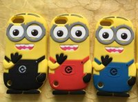 Wholesale 3D Minions Soft Silicone Gel phone Case Despicable ME Cute Cartoon For Apple Touch Touch6 Touch5 Touch4 skin Rubber cover Luxury