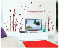 autumn wallpapers - Autumn Reed dance TV background wall stickers beauty wall decals removable vinyl wall decoration wallpaper