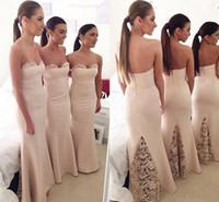 Elegante Ivory Strapless vaina Bridemaid vestido de longitud completa sin mangas de la boda vestido de fiesta de las niñas formal vestido de la ocasión 2016