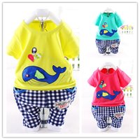 boys and girls clothing - 2015 Baby Sets Summer Baby Girl Boy Clothing Set Short Sleeve Little Whale Infant Clothing Summer Suits For Girls And Boys