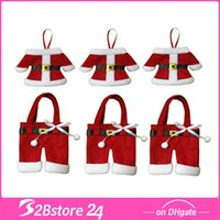 Wholesale 6pcs Set Mini Santa Suit Christmas Clothes Pants Shaped Suit Knives Forks Silverware Holder