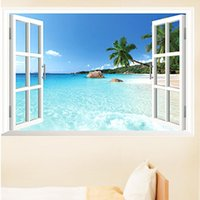 beach graphic - new CM Removable Beach Sea D Window View Scenery Wall Sticker home Decor romm Decals