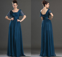 Wholesale 2015 Chiffon Mother of the Bride Dresses V Neck Open Back Short Sleeves with Beads Floor Length Chiffon Mother Dresses Party Evening Dresses