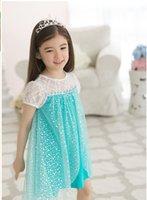 Cheap 10Pcs Lot Girls Frozen Princess Dresses Anna Elsa Cosplay Costume Kid's Party Dress Dresses SZ3-6Y