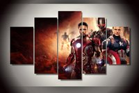 avengers original movie poster - 5 Piece Ready To Hang With Framed Printed Avengers Movie Painting on canvas room decoration print poster picture canvas original painting
