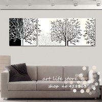 ans arts - 3 piece canvas blank ans whitewall art tree picture canvas painting tree painting Large wall pictures for living room RF