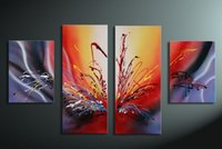 oil warmer - hand painted oil wall art Warm color the sunset Home Decoration Modern Abstract Oil Painting on canvas set pictures Framed