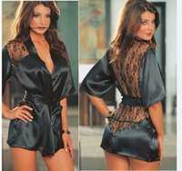 Wholesale Sexy Lingerie black satin detail robe dress g string band set sleepwear costume S M L XL