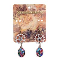 antiqued silver earrings - Gears Colorful Beads Charm Chandelier Earrings New Arrivals Handmade Steampunk Antiqued Style Bronze Red Copper Silver Earings