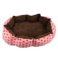 Wholesale 5 Colors Optional Dot Patterns Breathable Soft Fleece Pet Dog Puppy Cat Warm Bed House Plush Cozy Nest Doggy Mat Pad Top Quality