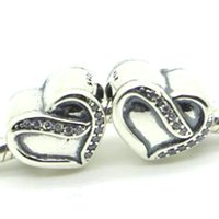Wholesale Silver Beads Bracelets Valentine - New 2016 Valentine Day 925 Sterling Silver Ribbon of Love Charm Bead with Clear Cz Fits European Pandora Jewelry Bracelets & Necklace