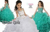 little girls beautiful dresses - Mint White Fuchsia Little Girls Wedding Party Gown Ritzee girls Beautiful Ruffles Fully Beaded Girl s Pageant Dresses