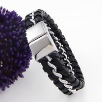 Wholesale Fashion PU Leather Knitted Steel Wire Bangle Leather Bracelets for Men SB01485