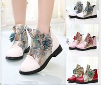 Wholesale Winter specials bright youngster girl Martin boots The color gold flower single boots slip mouth boots yards