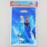 Wholesale 2015 AAA quality Frozen elsa Anna princess party supplies birthday cartoon gift candy bag back OPP Plastic package bag TOPB1690