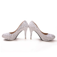 Cheap Luxury Bride Wedding Shoes High-heeled Lady Shoes Nightclub Prom Dresses Shoes DY899-10 Silver