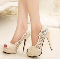 diamante shoes - New Size colors Women Sexy Wedding Party Platform High Heels Lace Rhinestone Diamante Hollow Peep Toe Wedges Thigh Pumps Sandal Shoe